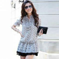 $8.36 Sweet Ruffle V-Neck Polka Dot Pleated Chiffon Short Sleeve Dress For Women