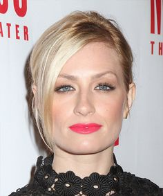 Beth Behrs Sleek Updo. Try on this hairstyle and view styling steps! http://www.thehairstyler.com/hairstyles/casual/medium/straight/beth-behrs-updo
