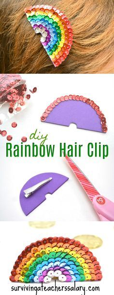 This sequin rainbow hair clip is gorgeous and crazy easy to make. I never thought of using craft foam! patrick's day and art festivals! I love the bright colors. She has a step by step photo tutorial so you can see exactly how to make your Making Hair Bows, Diy Hair Bows, Diy Hair Clips, Foam Crafts, Craft Foam, Diy For Kids, Crafts For Kids, Craft Ideas For Girls, Sequin Crafts