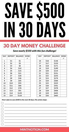 Money Challenge: How To Save $500 In 30 Days. Save money. Extra income. Budgeting tips.