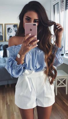summer outfits Blue Off The Shoulder Top + White Short