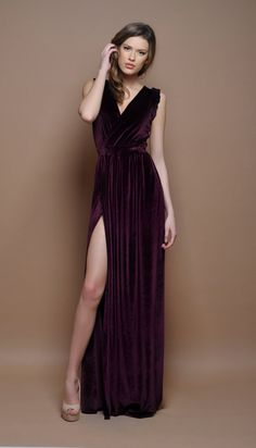 feebf67dc2400 Dark Purple Party Evening Long Velvet Dress Wrap Neck High Slit Sleeveless  Plain Bridesmaid Dress Waistband Sash