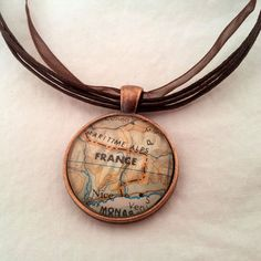 cute map necklace
