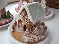 blue ginger bread house.  Like the cookie base