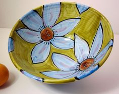Majolica Pottery Serving Bowl Earthenware by ClayLickCreekPottery