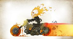 Bringing Vengeance (Ghost Rider) by Darren Rawlings Chibi, Ghost Rider Motorcycle, Gost Rider, Ghost Rider Wallpaper, Ghost Rider Pictures, Spirit Of Vengeance, Comic Poster, Halloween Pictures, After Life