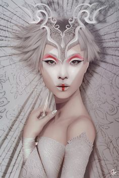 The White Geisha by Giulio Rossi is printed with premium inks for brilliant color and then hand-stretched over museum quality stretcher bars. Money Back Guarantee AND Free Return Shipping. Make Up Art, Fantasy Makeup, Creative Makeup, Fashion Face Mask, Face Art, Makeup Inspiration, Canvas Art Prints, Character Design, Drawings