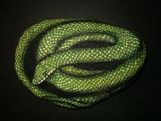 Rough Green Snake - Detailed Painted Rock - Serpent - Garden Decor - Original - Nature Wildlife. $50.00, via Etsy.