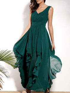 Solid Color Flounce Ruffles Plunging Neck Sleeveless Dress