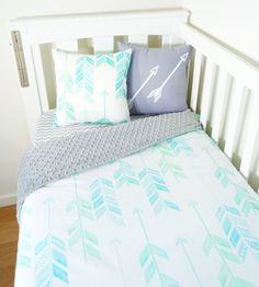 Mint aqua blue green arrows grey minky nursery items