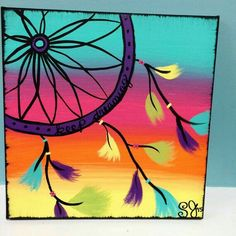 Dreamcatcher Made to Order Canvas door TheShabbyDreamer Simple Canvas Paintings, Easy Paintings, Canvas Crafts, Diy Canvas, Diy Painting, Painting & Drawing, Painting Canvas, Dream Catcher Painting, Mini Canvas Art