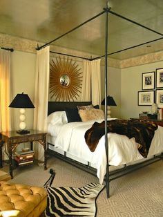 love the zebra rug and the curtains on the bed frame! keeps the light out of the bed, but not out of the room. Dream Bedroom, Home Bedroom, Master Bedroom, Bedroom Decor, Funky Bedroom, Bedroom Eyes, Design Bedroom, Master Suite, Interior Exterior