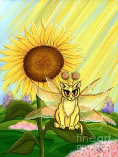 Items similar to Yellow Fairy Cat Painting Sunflower Fairy Cat Art Summer Sunshine Art Fantasy Art Print Cat Lovers Art on Etsy