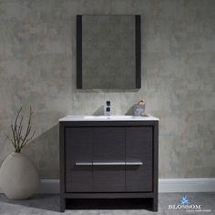 "Milan 36 "" Modern Bathroom Vanity - Silver Grey"