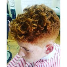slick curly fade on this ginger boy