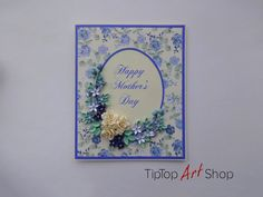 Handmade Paper Quilling Greeting Card with 3D Flowers by TipTopArtShop on Etsy