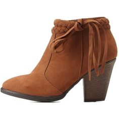Charlotte Russe Chestnut Braided Tassel Booties by Dollhouse at... ($41) ❤ liked on Polyvore featuring shoes, boots, ankle booties, chestnut, thick heel booties, chunky heel booties, zipper boots, bootie boots and chunky heel bootie