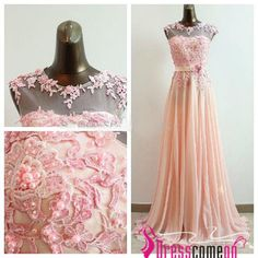 Sexy Custom High Neck Beads Appliques Coral Blush Chiffon Long Prom Dress/Evening Dress/Party Dresses/Homecoming Dresses/Bridesmaid Dress · Dresscomeon · Online Store Powered by Storenvy Puffy Prom Dresses, Gorgeous Prom Dresses, Chiffon Evening Dresses, Prom Dresses With Sleeves, Cheap Prom Dresses, Homecoming Dresses, Party Dresses, Chiffon Dress, Gown Dress
