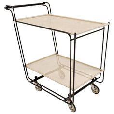 Stylish Mid-Century Modern Bar Cart or Tea Trolley in the Style of Mategot 1