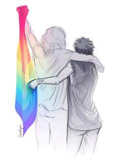 "️Larry Stylinson bandeira LGBT ""Oops"" ""Hi"" Lockscreen Larry Stylinson ️ Larry Stylinson, Gay Tumblr, Art Anime, Solangelo, Drarry, Lgbt Community, Heroes Of Olympus, Gay Art, Illustrations"