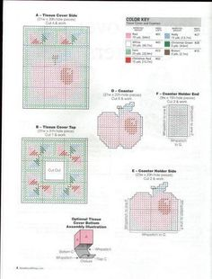 A HOMESPUN APPLE KITCHEN *TISSUE COVER & COASTERS 2/2* by ANGIE ARICKX 3/13