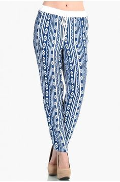 LoveMelrose.com From Harry & Molly | Indian Print Slim Pants - Blue