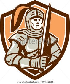 Illustration of knight in full armor holding sword facing front set inside shield on isolated background done in retro style. - stock vector #knight #retro #illustration