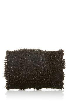 Black Petite Evening Clutch by OSCAR DE LA RENTA for Preorder on Moda Operandi
