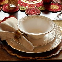 Antique Scroll Dinnerware with Golden Lotus Glitter charger plate- Pier One