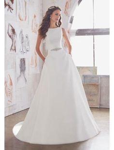 A-linie Trendige Moderne Brautkleider aus Satin mit Schleppe