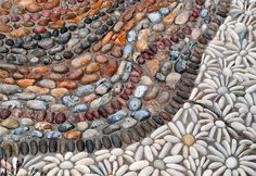 white gravel flowers and pebbles in different colors