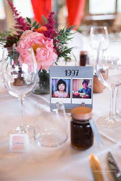Les photos des mariés enfants pour le nom de table!
