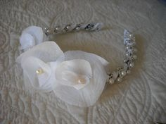 Pearls, Satin, and Organza Flower Bridal, Flower Girl, First Communion Headband Headpiece on Etsy, $30.00