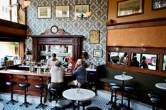 A turn-of-the-century-style saloon in North Beach, just a block and a half from the Transamerica Pyramid and bordering Chinatown, Comstock Comstock Saloon | 155 Columbus Avenue San Francisco Saloon serves flawless classic cocktails. A great place to grab a drink before dinner at nearby restaurants like Cotogna, Quince, or Wayfare Tavern.
