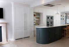 A Bespoke Kitchen in Holland Park, London by Tim Moss Kitchens. Gaggenau appliances, Farrow  Ball Skimming Stone and Downpipe colours, Ceasarstone Organic White worktops, Dornbracht Elio taps