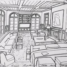 Concept sketch for a family room space for a project in palm beach #GarrowKedigian #Interiors #InteriorDesign #familyroom #familyrooms #sofa #sofas #sketch #handdrawn #drawing #interiorrendering #rendering #frenchdoors #coffeetable #upholsteredchairs #palmbeach #palmbeachdesign #florida #floridadesign #design #Decorating #floorplan #furniturelayout #layoutplan #frenchdoors #concept #conceptsketch