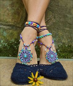 bohemian DREAM BAREFOOT SANDALS sole less sandals beach by GPyoga, $89.00