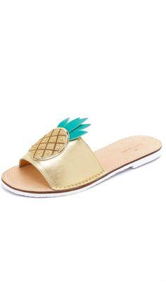 Kate Spade New York Ibis Pineapple Slides #katespade #pineapple #flats #sandals #gold