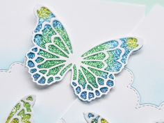 Glitter Inlay Technique Video by Dave Brethauer (Outside The Box - Dave Beathauer) Card Making Tips, Card Making Tutorials, Card Making Techniques, Glitter Crafts, Glitter Glue, Origami, Die Cut Cards, Butterfly Cards, Blue Butterfly
