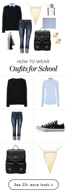"""""""school"""" by quidditchseeker on Polyvore featuring Frame Denim, Polo Ralph Lauren, Converse, Simone I. Smith, Valentino and Sole Society"""