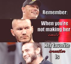 This is sooo perfect because these are my three favourite wrestlers. Forever repinning