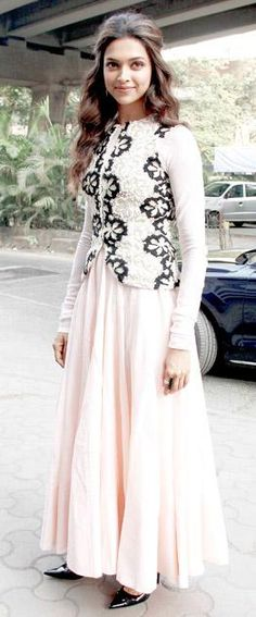 Light Pink Suit with Black work on jacket  #Deepika Padukone #punjabisuit #punjabidesignersuit