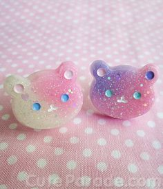 Glittery Galaxy Glow in the Dark Teddy Bear Resin Ring (PICK 1) Pastel Pink Lavender Kawaii Lolita Fairy Kei on Etsy, $10.00