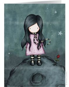 """Because She Is My Rose"" (greeting card). Gorjuss Girls Merchandise from Santoro London"