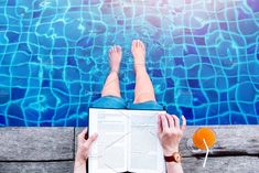 Reading Book at the Poolside by salmon.black on @creativemarket