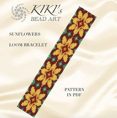 Bead loom pattern - Sunflowers - flowery vivid coloured LOOM bracelet in PDF instant download
