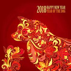 Download - Vector yellow dog for the Chinese New year 2018. Doodle floral pattern. — Stock Illustration #170981300