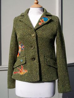 Customised Upcycled Modern Green Tweed  Women's Jacket with birds and kimono fabric