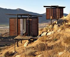 Room with a view: The Encuentro Guadalupe Antiresort huts, designed by Jorge Gracia Garcia, are available as deluxe cabins for tourists exploring Mexico's wine regions in the Valle de Guadalupe