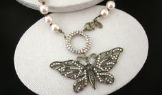 Kirks Folly BUTTERFLY NECKLACE Rhinestone Crystal Faux Pearl Chunky by jewelryannie on Etsy